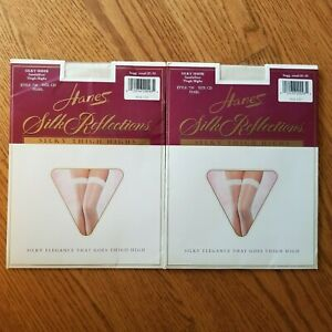 2 Prs Hanes Silk Reflections Silky Sheer Thigh Highs  Color Pearl  CD Up To  6'