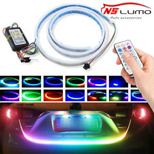 120cm RGB Remote LED Strip Rear Trunk Tailgate Brake Turn Signal Light Flow Type