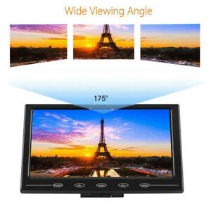 Ultra Thin HD 9'' TFT LCD Color HD Monitor Audio Video HDMI VGA Input w/ Speaker
