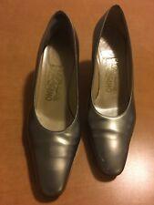 Salvatore Ferragamo Women's Size 6 Gold Heeled Slip-on Pumps