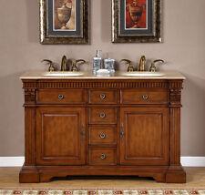 55-inch Travertine Top Bath Furniture Double Sink Bathroom Vanity Cabinet 0181TR