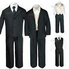 New 7pc Satin Vest Bow Tie  Boy Baby Toddler Kid Black Formal Suit Tuxedo S-20