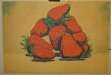 VINTAGE 1984 AARON FINK *PILE of STRAWBERRIES* LITHOGRAPH-KITCHEN ART - LISTED