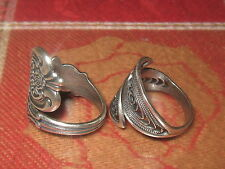 WHOLESALE LOT 2  SILVER PLATED MODERN + ROSE SPOON RINGS SIZES 6-10 ADJUSTABLE