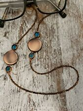 Handcrafted Copper Colored Beaded W/Blue Accents Eyeglass Chain