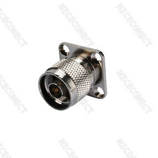 N type connector 4 Hole panel Mount Male with solder cup nickel Coax Connector
