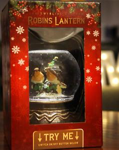 LED Swirling Glitter Robins Lantern