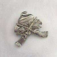 Brooch Pin Silver Tone Scottish Thistle Broomsticks Curling Stone