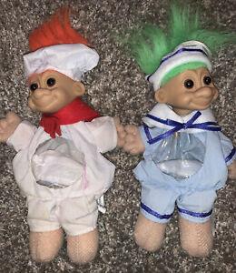 "Troll Doll 6"" Russ Halloween / Christmas Sailor & Chef Lot Candy Bag Ornament"