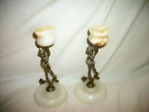 ITALIAN MARBLE METAL NUDE SCULPTURE CANDLE HOLDERS PIXIE ELF FRENCH FARMHOUSE