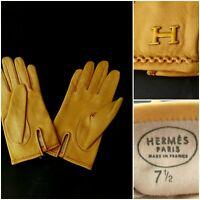 HERMES HANDSCHUHE 7 1/2,  beige