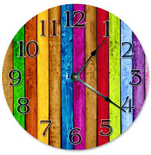 """COLORED WOOD BOARDS Clock - Large 10.5"""" Wall Clock - 2268"""