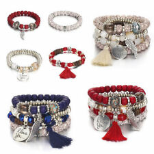 4Pcs Multilayer Natural Stone Crystal Bangle Men Women Beaded Bracelet Jewelry