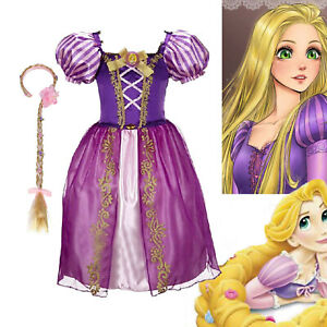 Kids Girls Tangled Rapunzel Princess Fancy Dress Up Costume Outfit with wig