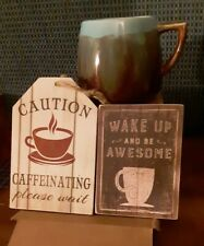 Coffee Mug Magnet and Sign Morning Wake Cocoa Cup Handled VTG Blue Green Brown
