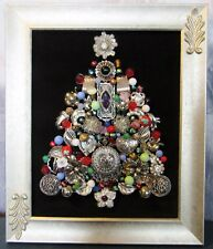 VINTAGE Jewelry OOAK Christmas Tree Framed Picture Art (T)