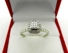 Anniversary 14k White Gold Invisible Set Natural Diamonds 0.65 tcw Halo Ring