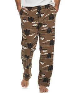 Mens MOUNTAIN BEAR Soft Micro-Fleece Lounge Pants Lodge Northwoods Pajamas