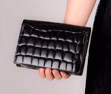 Vintage black mock croc leather clutch bag leather evening bag