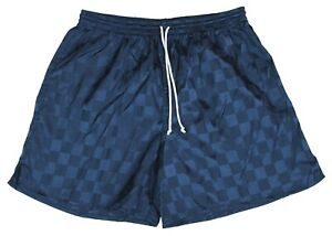 Navy Blue Checker Polyester Soccer Shorts by High Five - Men's Large