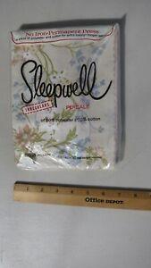 Sleepwell Pillowcases No Iron Percale: 50/50 NIP Pink Green Floral USA