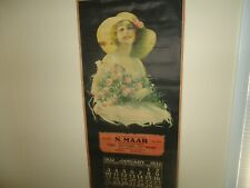 LARGE OLD 1932 Calendar Lady with basket  Art Wall hanging 46 x 21 inches