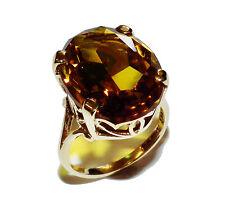Completamente marchiato 9ct Giallo Oro & Abito Giallo Sintetico Gem Ring (UK Taglia M)