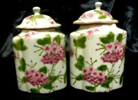 PAIR MINIATURE VINTAGE Decorative HAND PAINTED FLORAL DES GINGER JARS  5 INCH