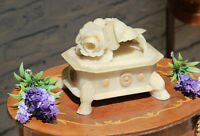 Rare antique alabaster carved floral roses Trinket jewelry box 1950