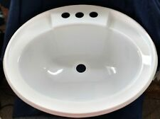 "Mobile Home RV Marine Bathroom Sink 17""X20"" Oval (White) With Hardware"