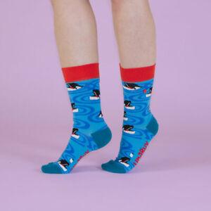 UnaBux Socken ORCA SMILE - bunte Socke mit Schwertwalen, blau, rot, weiß