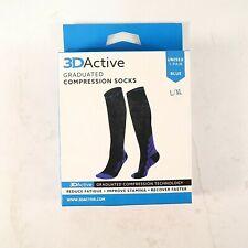 3D Active Graduated Compression Socks - 1 Pair, Black/Blue (L/XL)