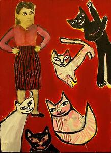 CAT LADY Raw Folk Art Brut Painting Outsider T. Marie Nolan Original Vision