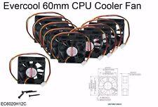 "2-pcs Evercool 60mm (2.36"") BALL Bearing Cooling Fan w/Screws--Brand NEW"