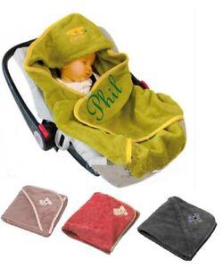Baby Einschlagdecke mit Namen bestickt Babyschale Babydecke Maxi Cosi Autositz