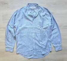 Authentic HERMES Men Shirt Plaid Slim Fit Cotton Size XL France