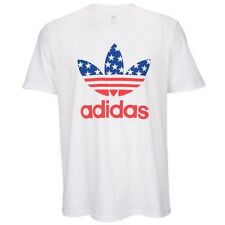 Adidas Originals All American White Red Blue T-shirt Men's Sz Large Graphic Tee
