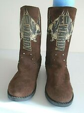 Ed Hardy women's suede leather boots size 8 Brown