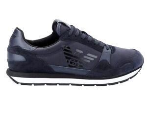 Emporio Armani X4X215 XL198 Logo Mens Trainers Navy Sneakers