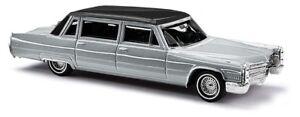 NEW HO Busch 1966 Cadillac Limousine Metallic Silver (Black Top) # 42958