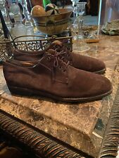 SALVATORE FERRAGAMO 11.5 D Men's Laced Brown Suede Shoes