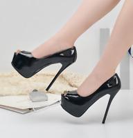 Women Sexy Super High Heels Peep Toe Platform Pumps Stilettos Shiny Leather Shoe