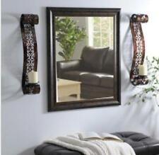 """Wall Sconce 24.5"""" Distressed Bronze Finish Metal Set of 2 Scroll Pillar Candle"""