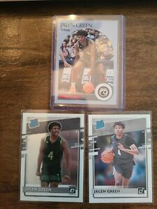 Jalen Green 3 Card Lot 2021 Chronicles Rated Rookie, Optic RR, NBA Hoops Rockets