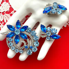Excellent EISENBERG ICE© Signed PIN & EARRINGS  SET Blue Rhinestone Rhodium Plat