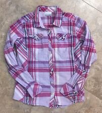 Columbia Womens Button Up Plaid Shirt Roll Tab Sleeves Purple Pink M