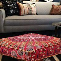 Peacock Mandala Floor Pillow Throw Square Cushion Cover Indian Meditation Pouffe