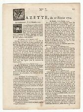 1754, feb.16, Original French Gazette # 7, Compagnie de la Baye de Hudson