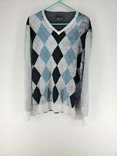 BKE V-Neck Sweater Mens Size XL Gray Blue Argyle (e1)