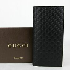 $625 Gucci Men's Black Microguccissima Leather Wallet w/ ID window 449245 1000